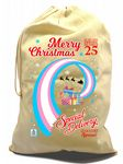 X-Large Cotton Drawcord LGBT Christmas Xmas Santa Sack Stocking Gift Bag With Transgender Pride Flag